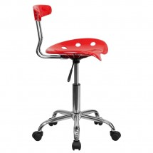 Flash Furniture LF-214-RED-GG Vibrant Red and Chrome Computer Task Chair with Tractor Seat addl-1