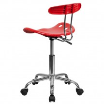 Flash Furniture LF-214-RED-GG Vibrant Red and Chrome Computer Task Chair with Tractor Seat addl-2