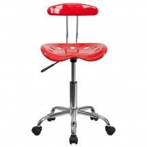 Flash Furniture LF-214-RED-GG Vibrant Red and Chrome Computer Task Chair with Tractor Seat addl-3