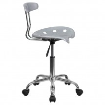 Flash Furniture LF-214-SILVER-GG Vibrant Silver and Chrome Computer Task Chair with Tractor Seat addl-1