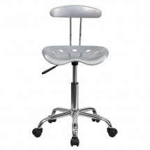 Flash Furniture LF-214-SILVER-GG Vibrant Silver and Chrome Computer Task Chair with Tractor Seat addl-2