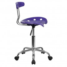 Flash Furniture LF-214-VIOLET-GG Vibrant Violet and Chrome Computer Task Chair with Tractor Seat addl-1
