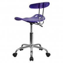 Flash Furniture LF-214-VIOLET-GG Vibrant Violet and Chrome Computer Task Chair with Tractor Seat addl-2