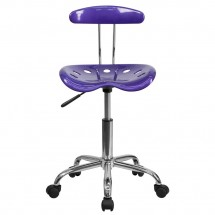 Flash Furniture LF-214-VIOLET-GG Vibrant Violet and Chrome Computer Task Chair with Tractor Seat addl-3