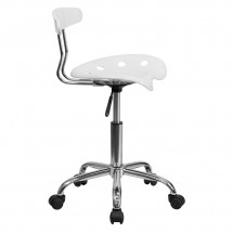 Flash Furniture LF-214-WHITE-GG Vibrant White and Chrome Computer Task Chair with Tractor Seat addl-1