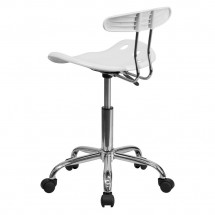 Flash Furniture LF-214-WHITE-GG Vibrant White and Chrome Computer Task Chair with Tractor Seat addl-2