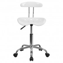 Flash Furniture LF-214-WHITE-GG Vibrant White and Chrome Computer Task Chair with Tractor Seat addl-3