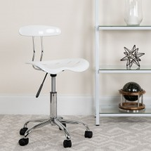 Flash Furniture LF-214-WHITE-GG Vibrant White and Chrome Computer Task Chair with Tractor Seat addl-4