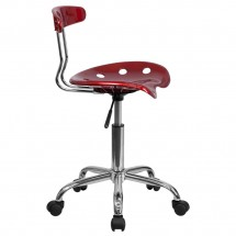 Flash Furniture LF-214-WINERED-GG Vibrant Wine Red and Chrome Computer Task Chair with Tractor Seat addl-1