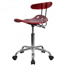 Flash Furniture LF-214-WINERED-GG Vibrant Wine Red and Chrome Computer Task Chair with Tractor Seat addl-2