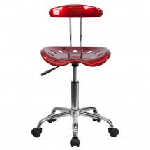 Flash Furniture LF-214-WINERED-GG Vibrant Wine Red and Chrome Computer Task Chair with Tractor Seat addl-3