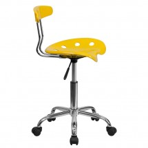 Flash Furniture LF-214-YELLOW-GG Vibrant Orange-Yellow and Chrome Computer Task Chair with Tractor Seat addl-1