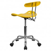 Flash Furniture LF-214-YELLOW-GG Vibrant Orange-Yellow and Chrome Computer Task Chair with Tractor Seat addl-2