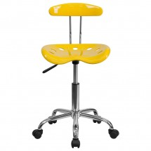 Flash Furniture LF-214-YELLOW-GG Vibrant Orange-Yellow and Chrome Computer Task Chair with Tractor Seat addl-3