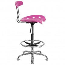 Flash Furniture LF-215-CANDYHEART-GG Vibrant Candy Heart and Chrome Drafting Stool with Tractor Seat addl-1