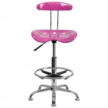 Flash Furniture LF-215-CANDYHEART-GG Vibrant Candy Heart and Chrome Drafting Stool with Tractor Seat addl-3