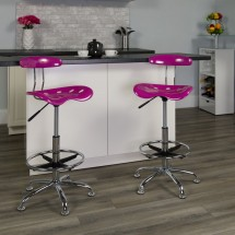 Flash Furniture LF-215-CANDYHEART-GG Vibrant Candy Heart and Chrome Drafting Stool with Tractor Seat addl-4