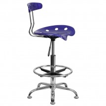 Flash Furniture LF-215-DEEPBlue-GG Vibrant Deep Blue and Chrome Drafting Stool with Tractor Seat addl-1