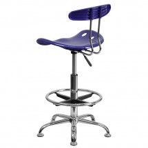 Flash Furniture LF-215-DEEPBlue-GG Vibrant Deep Blue and Chrome Drafting Stool with Tractor Seat addl-2