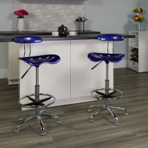 Flash Furniture LF-215-DEEPBlue-GG Vibrant Deep Blue and Chrome Drafting Stool with Tractor Seat addl-4