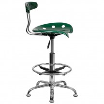 Flash Furniture LF-215-Green-GG Vibrant Green and Chrome Drafting Stool with Tractor Seat addl-1