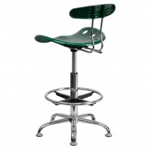 Flash Furniture LF-215-Green-GG Vibrant Green and Chrome Drafting Stool with Tractor Seat addl-2