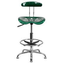 Flash Furniture LF-215-Green-GG Vibrant Green and Chrome Drafting Stool with Tractor Seat addl-3