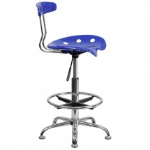 Flash Furniture LF-215-NAUTICALBlue-GG Vibrant Nautical Blue and Chrome Drafting Stool with Tractor Seat addl-1