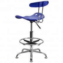 Flash Furniture LF-215-NAUTICALBlue-GG Vibrant Nautical Blue and Chrome Drafting Stool with Tractor Seat addl-2