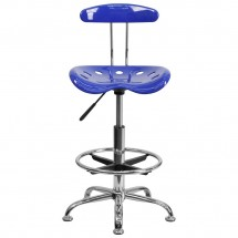 Flash Furniture LF-215-NAUTICALBlue-GG Vibrant Nautical Blue and Chrome Drafting Stool with Tractor Seat addl-3