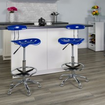 Flash Furniture LF-215-NAUTICALBlue-GG Vibrant Nautical Blue and Chrome Drafting Stool with Tractor Seat addl-4