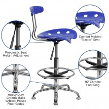 Flash Furniture LF-215-NAUTICALBlue-GG Vibrant Nautical Blue and Chrome Drafting Stool with Tractor Seat addl-5