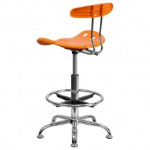 Flash Furniture LF-215-ORANGEYELLow-GG Vibrant Orange and Chrome Drafting Stool with Tractor Seat addl-2