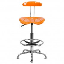 Flash Furniture LF-215-ORANGEYELLow-GG Vibrant Orange and Chrome Drafting Stool with Tractor Seat addl-3