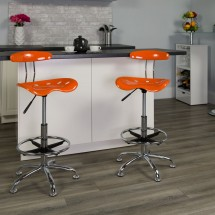 Flash Furniture LF-215-ORANGEYELLow-GG Vibrant Orange and Chrome Drafting Stool with Tractor Seat addl-4
