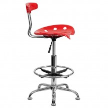 Flash Furniture LF-215-Red-GG Vibrant Red and Chrome Drafting Stool with Tractor Seat addl-1