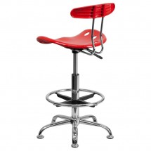 Flash Furniture LF-215-Red-GG Vibrant Red and Chrome Drafting Stool with Tractor Seat addl-2