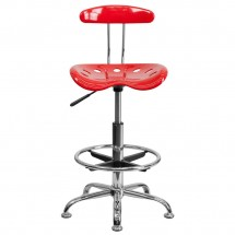 Flash Furniture LF-215-Red-GG Vibrant Red and Chrome Drafting Stool with Tractor Seat addl-3