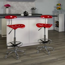 Flash Furniture LF-215-Red-GG Vibrant Red and Chrome Drafting Stool with Tractor Seat addl-4