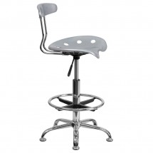 Flash Furniture LF-215-Silver-GG Vibrant Silver and Chrome Drafting Stool with Tractor Seat addl-1