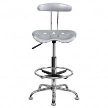 Flash Furniture LF-215-Silver-GG Vibrant Silver and Chrome Drafting Stool with Tractor Seat addl-3