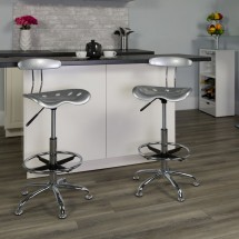 Flash Furniture LF-215-Silver-GG Vibrant Silver and Chrome Drafting Stool with Tractor Seat addl-4