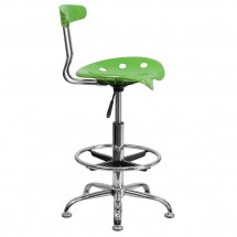 Flash Furniture LF-215-SPICYLIME-GG Vibrant Spicy Lime and Chrome Drafting Stool with Tractor Seat addl-1