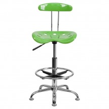 Flash Furniture LF-215-SPICYLIME-GG Vibrant Spicy Lime and Chrome Drafting Stool with Tractor Seat addl-3