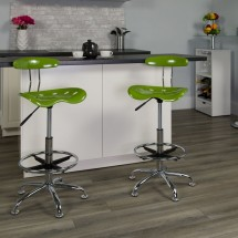 Flash Furniture LF-215-SPICYLIME-GG Vibrant Spicy Lime and Chrome Drafting Stool with Tractor Seat addl-4