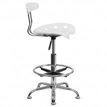 Flash Furniture LF-215-White-GG Vibrant White and Chrome Drafting Stool with Tractor Seat addl-1
