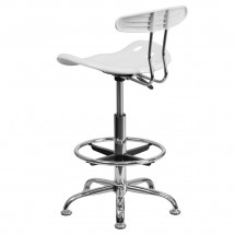 Flash Furniture LF-215-White-GG Vibrant White and Chrome Drafting Stool with Tractor Seat addl-2