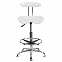 Flash Furniture LF-215-White-GG Vibrant White and Chrome Drafting Stool with Tractor Seat addl-3