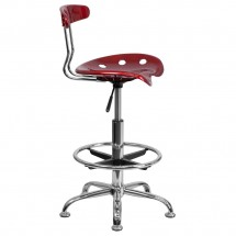 Flash Furniture LF-215-WINERed-GG Vibrant Wine Red and Chrome Drafting Stool with Tractor Seat addl-1