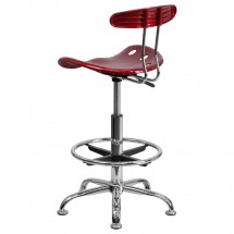 Flash Furniture LF-215-WINERed-GG Vibrant Wine Red and Chrome Drafting Stool with Tractor Seat addl-2